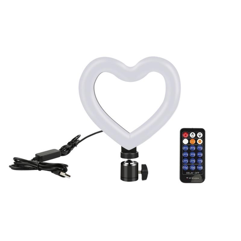 Luz LED de 6 en forma de corazón, luz de relleno Tricolor caliente y frío regulable para flujo en vivo/maquillaje/fotografía