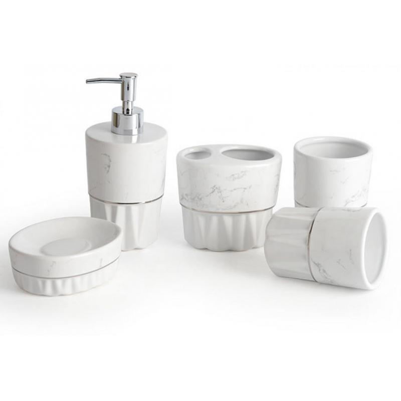 5 Pcs/Set Ceramic Toiletries Bathroom Set Marble Porcelain Cup Toothbrush Holder Soap Dispenser Tray Bathroom Accessories enlarge