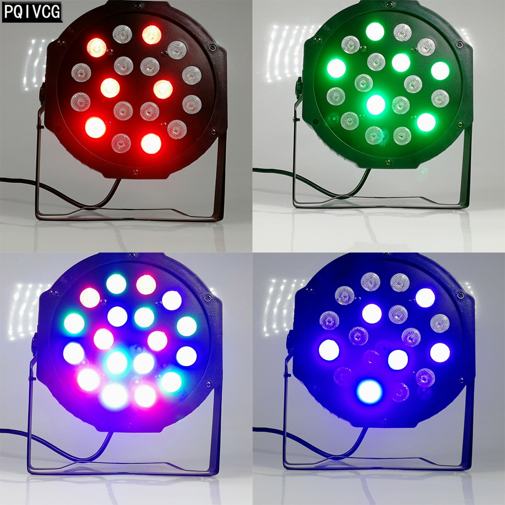18x3 واط RGB Led مصباح موازي المستوى تنشيط الصوت كامل اللون بار أداء الزفاف الصباغة مصباح موازي المستوى