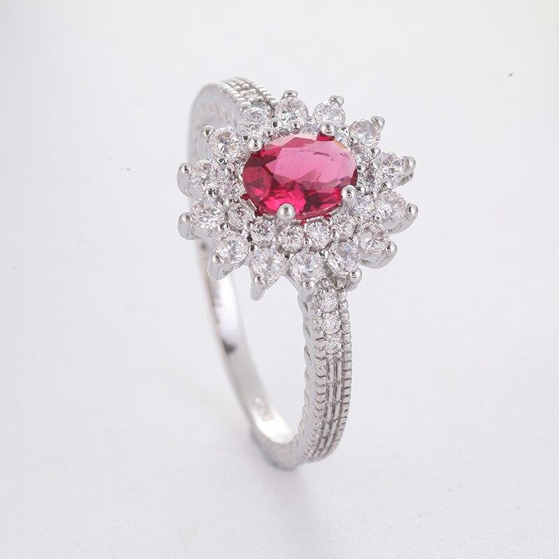 Anillo clásico de piedra Color plata rojo para mujer, anillo de compromiso de lujo para mujer, alianzas de boda anillo, joyería para chicas, mejores regalos