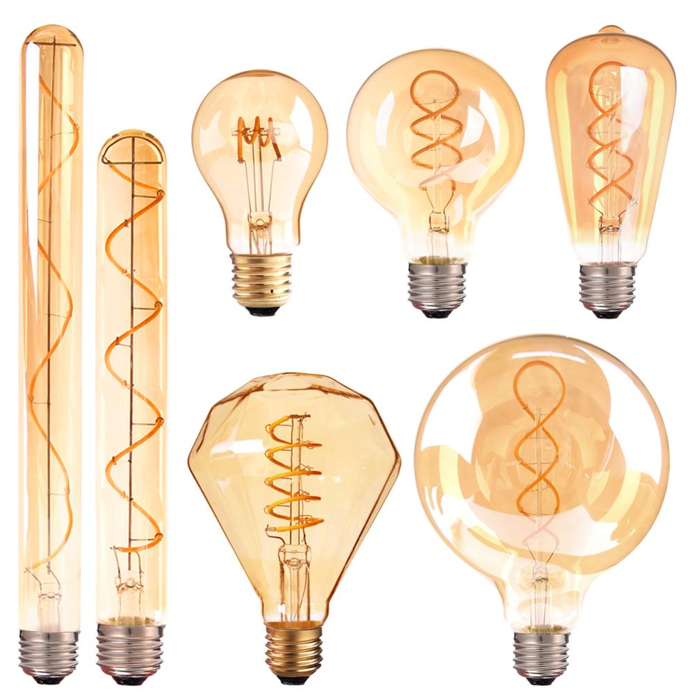Винтажная Светодиодная лампа накаливания E27, 220 В, A19, 4 Вт