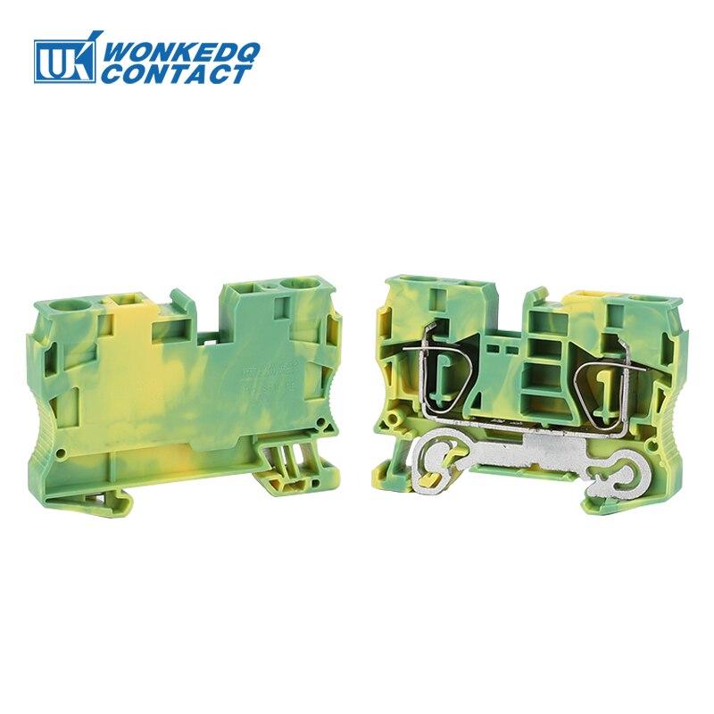 Din Rail blocs de bornes connecteurs   Type traction, Cage à ressort, connexion au sol, blocs de bornes sans vis, 10pièces
