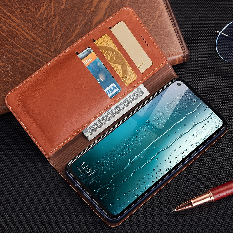 Case for Nokia 2.2 2.3 3.2 4.2 5.3 6.2 7.2 8.3 First Layer Genuine Leather Wallet Flip Cover Cases