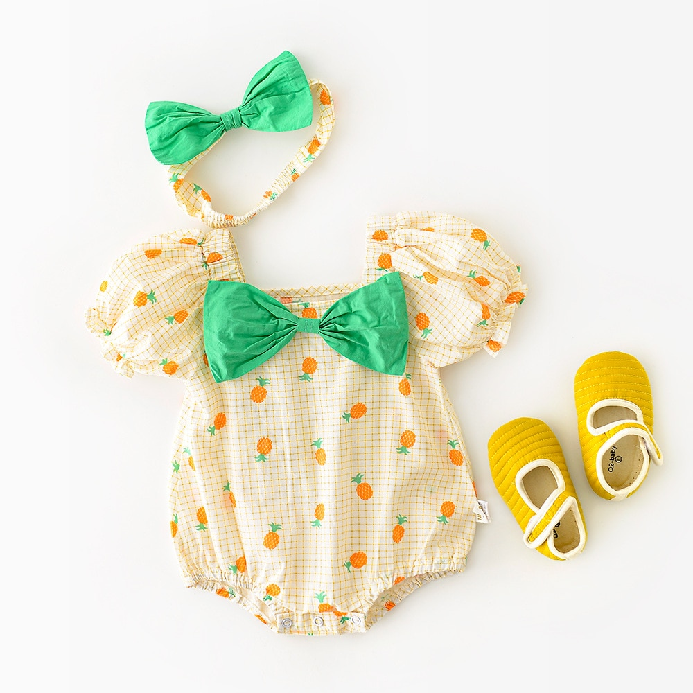 Yg brand children's clothing 2021 summer new printed square neck big bow one-piece Baby Short Sleeve