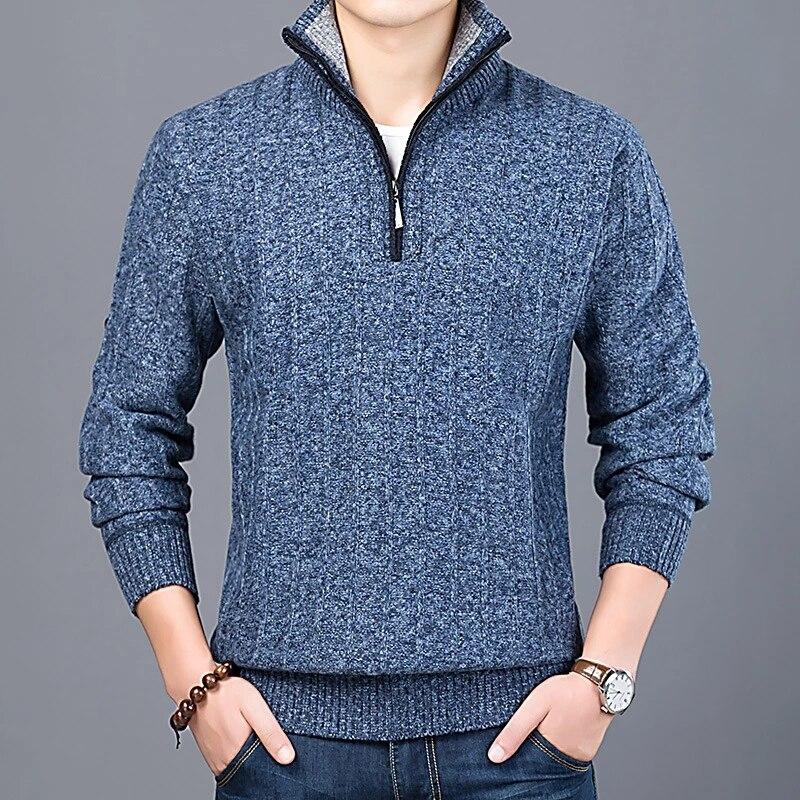 Новинка 2021, зимний мужской свитер, Повседневный пуловер, мужской теплый свитер, Мужской приталенный вязаный пуловер с воротником-стойкой, м...