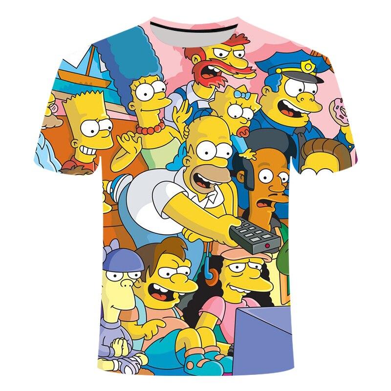 Новые летние футболки с 3D-принтом Симпсоны, мужские и женские футболки с круглым воротником и короткими рукавами, летняя детская забавная ф...