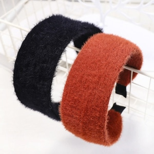 2019 Wide Solid Mink Hair Sweet Fall Winter Women Girl Headbands Hairbands Head Wear Fashion Accessories-MSD5-W5
