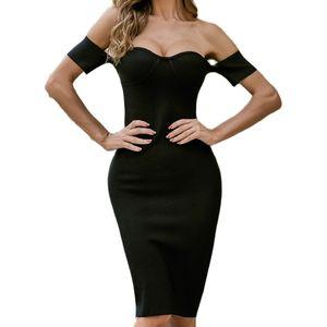 Women summer open back strapless bodycon knee length midi dress night club party pencil dresses