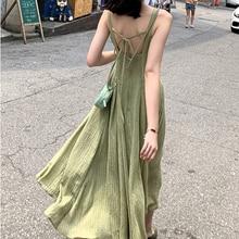 Wmswjh robe de plage femmes bord de mer vacances fruits vert sans manches décontracté robe de soirée mode Sexy Spaghetti sangle longues robes