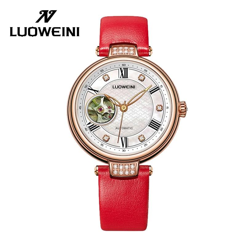 LUOWEINIstainless steel automatic mechanical watch ladies fashion all-match diamond-studded ladies waterproof watch