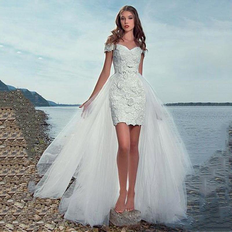 Detachable Train Wedding Dress Princess Elegant Lace Appliques Vestido De Noiva 2 in 1 Beach Bridal Gowns Vestidos de Noiva