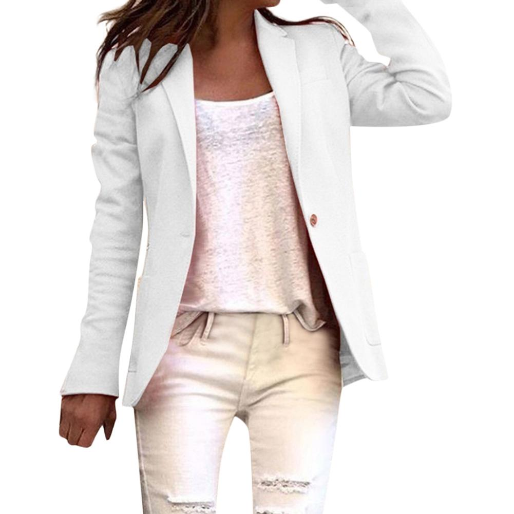 Oficina de la señora Besiness Blazer Color sólido Botón de las mujeres de manga larga traje de abrigo básico Blazer Feminino пиджак женский