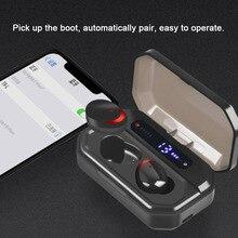 TWS kablosuz kulaklık IPX7 ter geçirmez su geçirmez Bluetooth spor kulaklık HiFi ses 6D Surround kulakiçi süper bas kulaklık