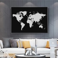 abstract vintage world map paintings on canvas retro watercolor map poster and print wall art picture for living room cuadros