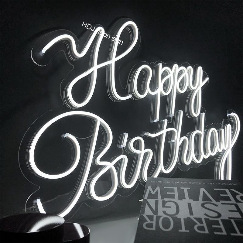مصابيح إضاءة ليد مخصصة رسالة النيون تسجيل ضوء عيد ميلاد سعيد مناسبة لمطعم المنزل الأسرة حفلة عيد ميلاد خلفية إضاءة زينة