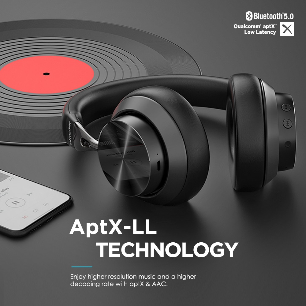 Mixcder E10 aptX Low Latency Bluetooth Headphones Active Noise Cancelling Wirless Headset HD With Mic for Mobile Phones PC TV enlarge