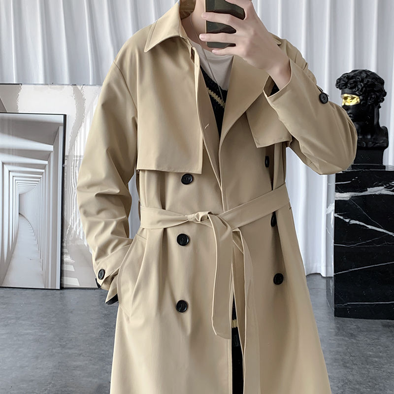 Autumn Korean Style Trench Men's Fashion Solid Color Casual Long Coat Men Streetwear Loose Windbreaker Jacket Mens Overcoat