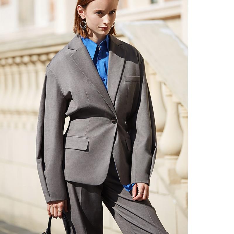gray loose street wear Ladies office Blazer top Long Sleeve Regular Fit Minimalist casual Women Blazer Spring new