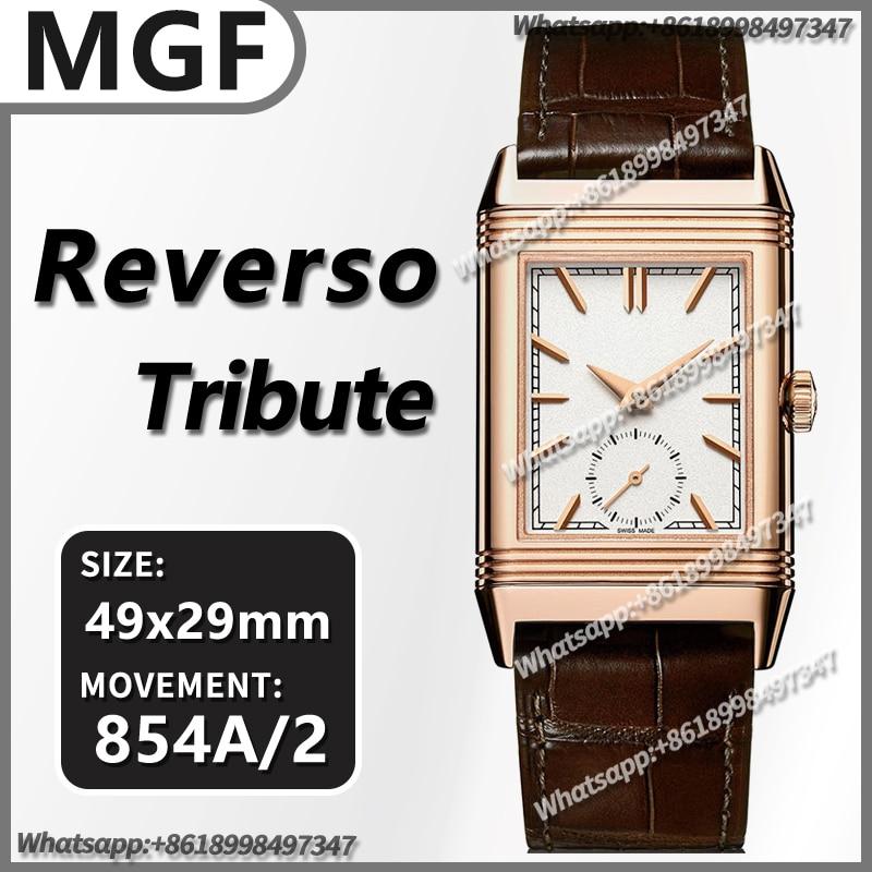 Pulseira de Couro Relógio Mecânico Automático Masculino Reverso Tribute Dois Rosto Mgf 18k Ouro Melhor Edição 1:1 Marrom 854a – 2 Movimento 49mm