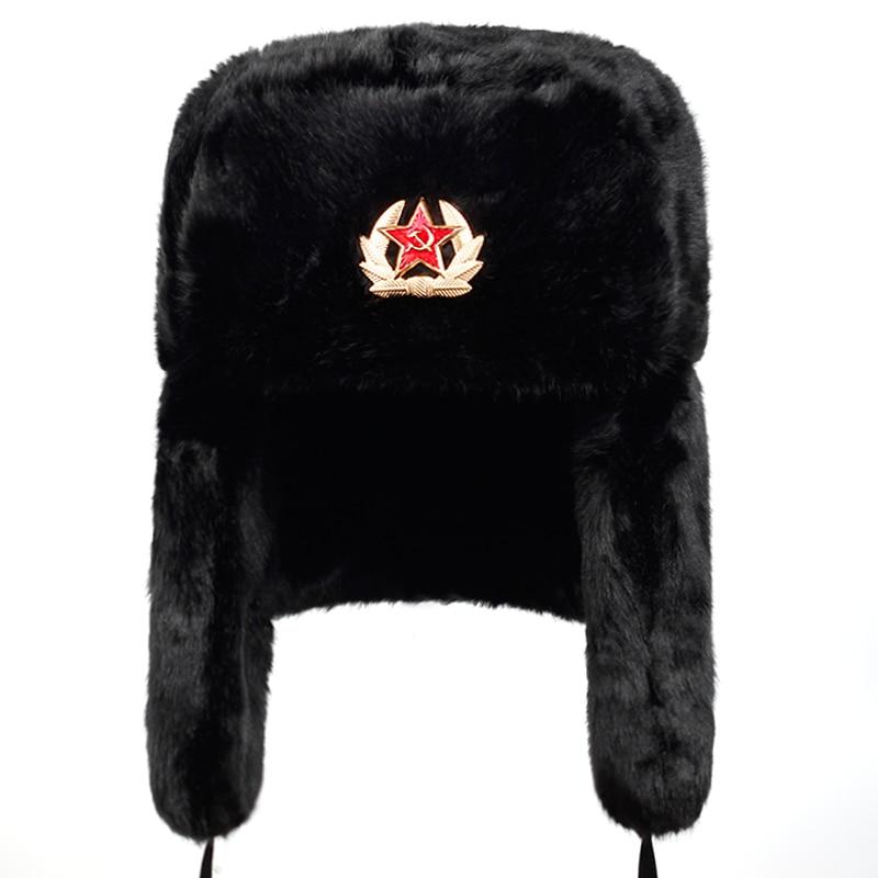 New Russian Bomber Cap Outdoor Warm Earmuffs Men And Women Universal Winter Ski Caps Military Badge