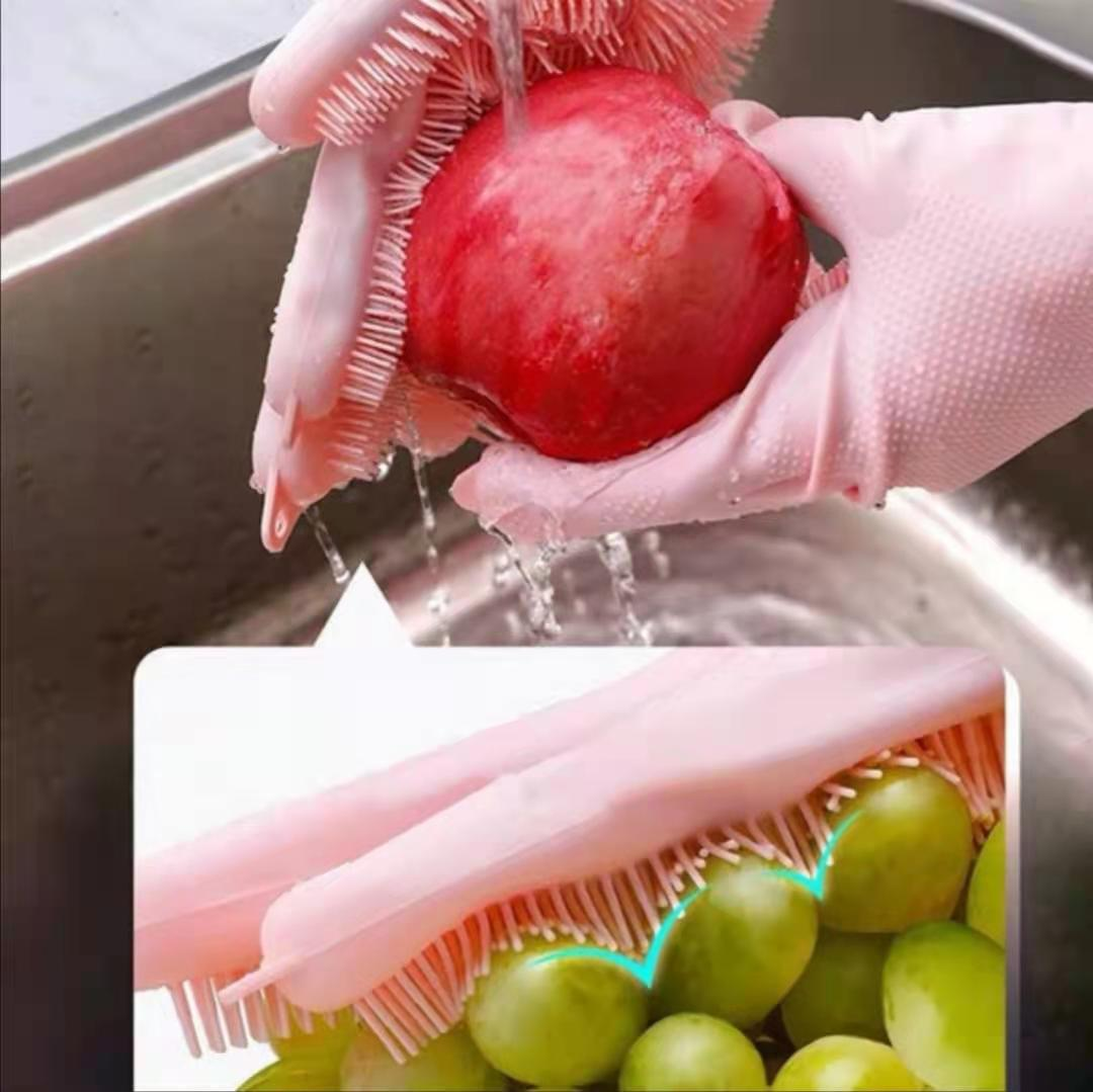 Dishwashing Cleaning Gloves Magic Silicone Rubber Dish washing Gloves for Household Scrubber Kitchen Clean Tool Scrub 1 Pair enlarge