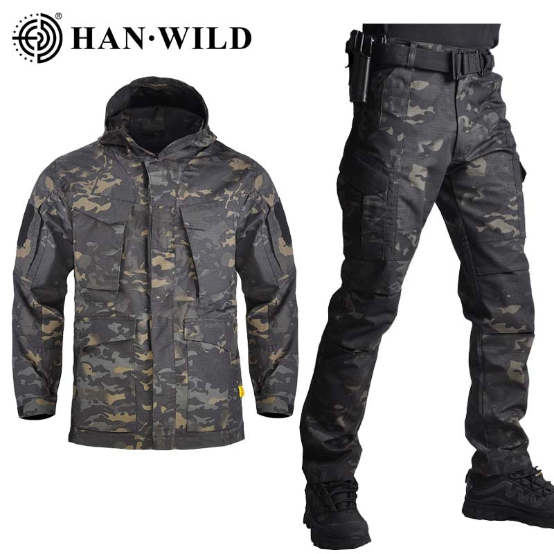 HAN WILD M65 Army Jacket Set Clothing Shell Military Tactical Camouflage Hunting Jackets & Pants Army Suits Waterproof Suits outdoor m65 tactical airsoft jacket suits camouflage jacket set men army hunting jackets military waterproof jacket windbreaker