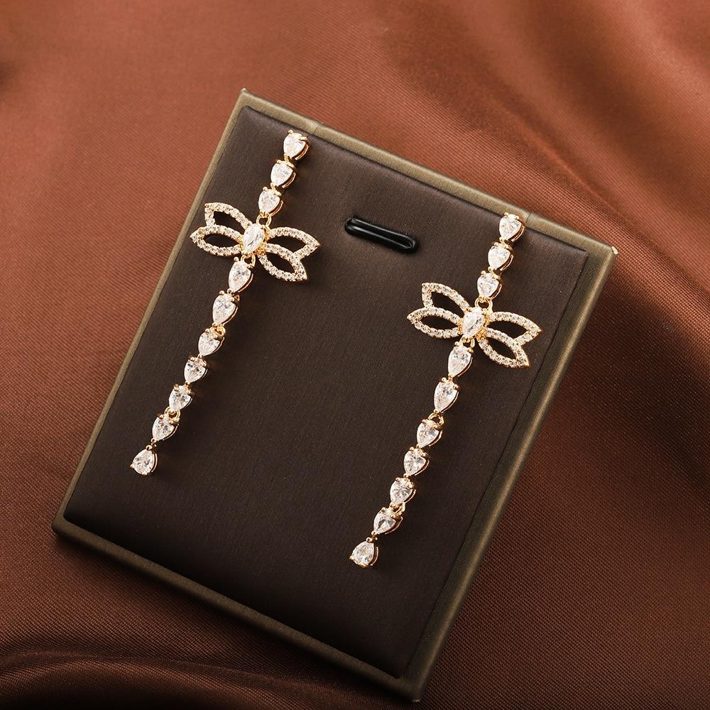 Elegant Bow Long Earrings Plant Leaf Symmetrical Earrings for Women Exquisite Tassel Jewelry Cute High-end Design Earrings
