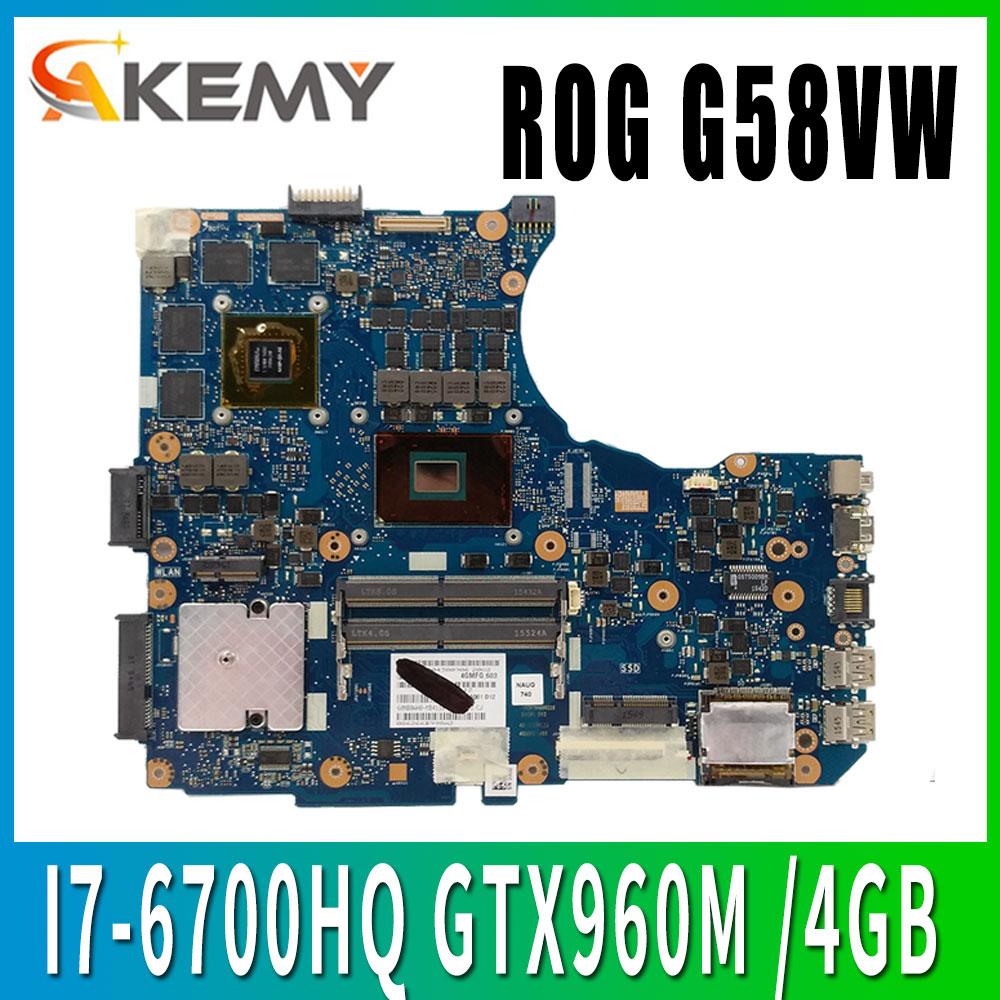 Motherboard Para ASUS G551V G551VW N551V G58VW G551VW FX51VW N551VW laptop Motherboard Mainboard G551VW I7-6700HQ GTX960M V4GB