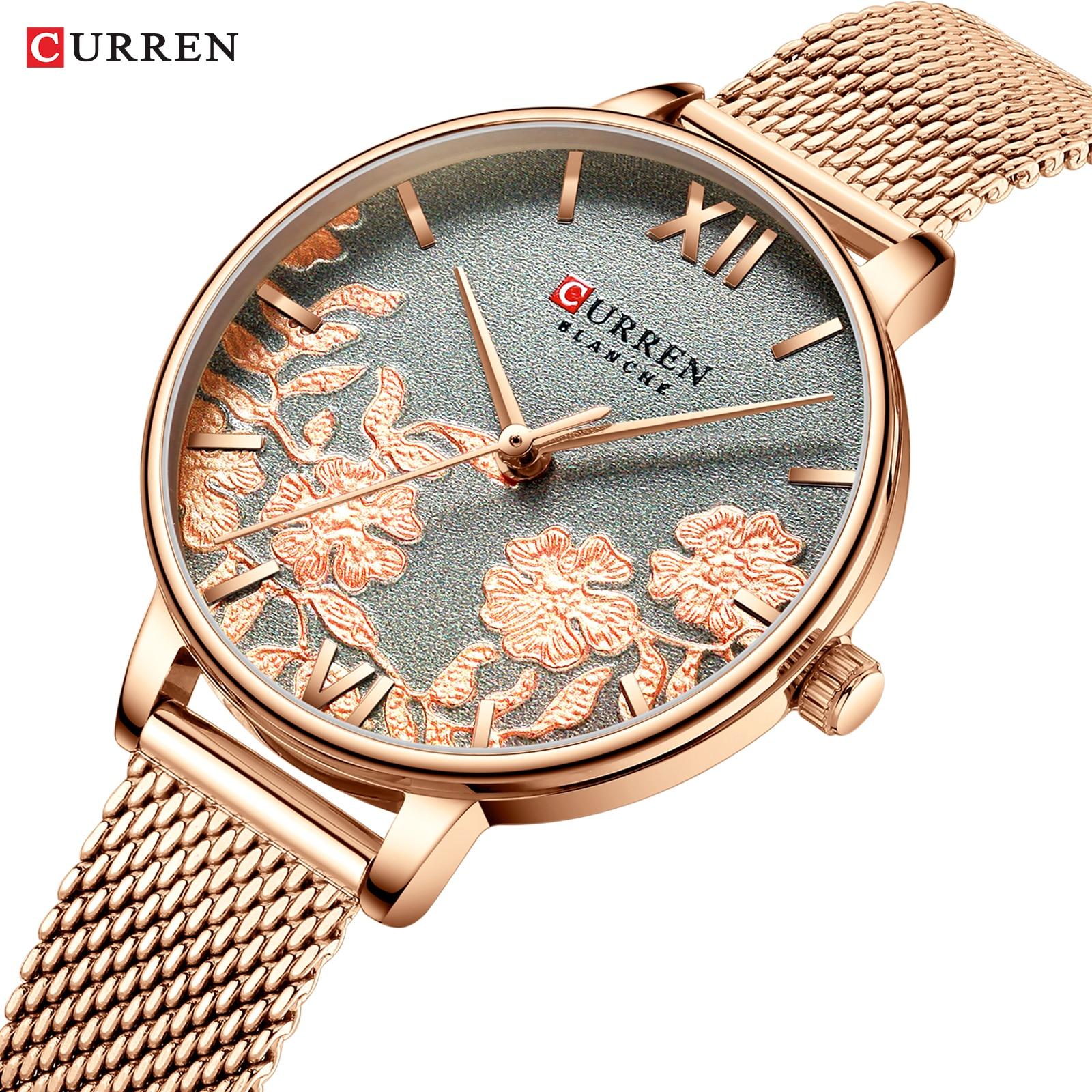 CURREN Women Watches Top Brand Luxury Stainless Steel Strap Wristwatch for Women Rose Clock Stylish Quartz Ladies Watch enlarge