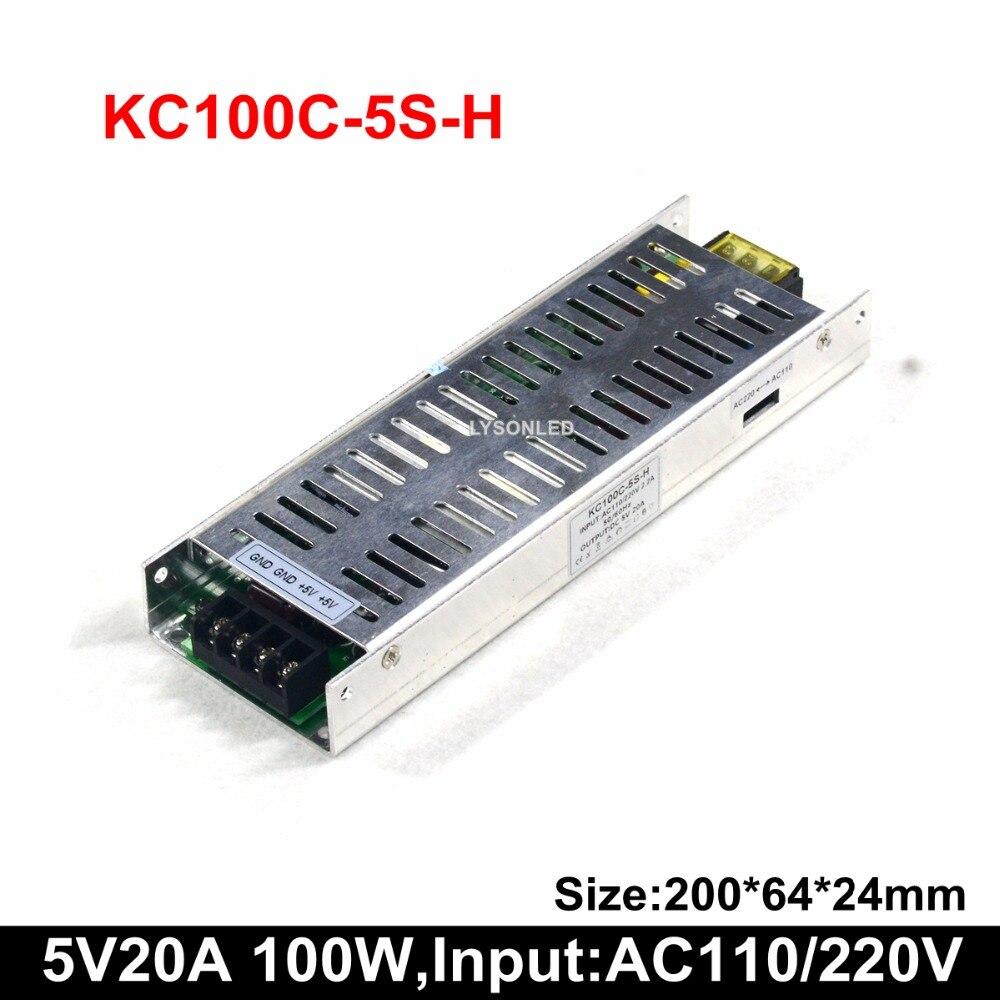 5 V 20A 100W LED défilement affichage alimentation Support 100-265 VAC PSU mince (35W 50W 75W disponible)
