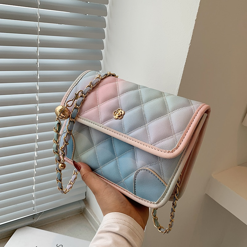 Gradient Design Small Lingge PU Leather Crossbody Bag for Women 2021 Female Summer Chain Luxury Trendy Shoulder Handbags