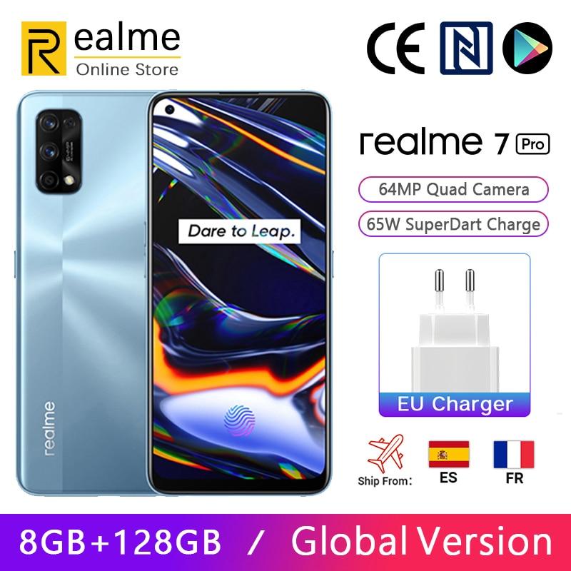 Перейти на Алиэкспресс и купить Глобальная версия Realme 7 Pro 8 ГБ 128 ГБ Смартфон Snapdragon 720G 6,4-дюймовый AMOLED-дисплей 64 МП, четыре камеры, 65 Вт, зарядка SuperDart, NFC