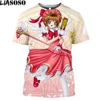 card captor sakura anime t shirt cute magic girl print graphic tee econd element oversize harajuku shirt casual kawaii clothes