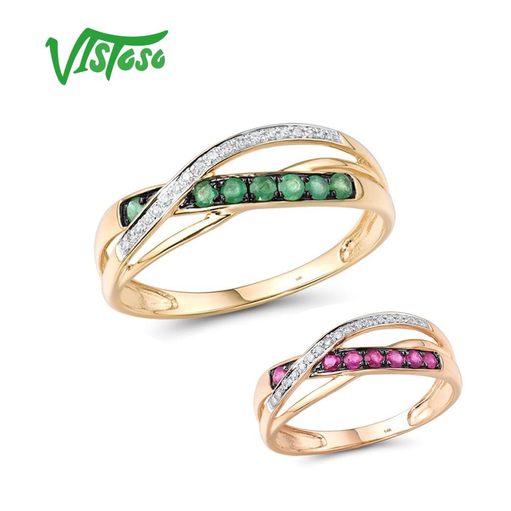 VISTOSO خواتم الذهب للنساء حقيقية 14K 585 الأصفر/الوردي الذهب الماس الزمرد روبي خاتم الزفاف المشاركة هدية غرامة مجوهرات