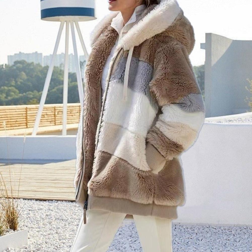 Женские Плюшевые куртки с капюшоном, теплые осенне-зимние куртки смешанных цветов на молнии, уличная одежда, свободные куртки с карманами ...