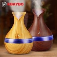 KBAYBO     diffuseur electrique dhuiles essentielles et darome pour maison  humidificateur dair ultrasonique  Grain de bois  lumieres LED  USB  300ml