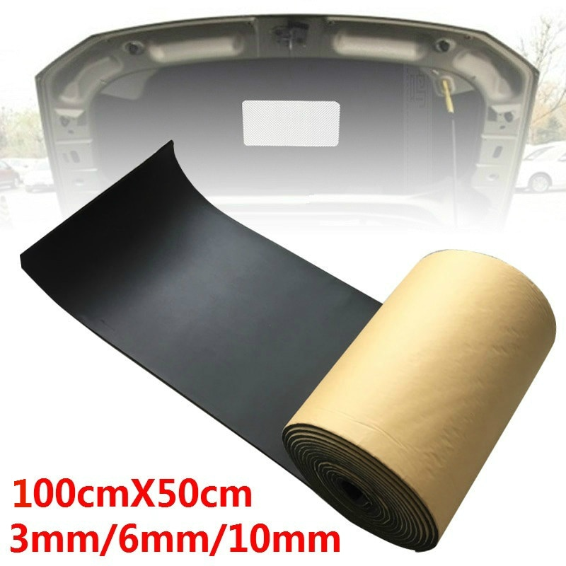 Звукоизоляция для автомобиля, грузовика, автомобиля, шумоизоляция, шумоизоляция, хлопок, теплоизоляция, самоклеящаяся пена, 100 см x 50 см, 3 мм/6...