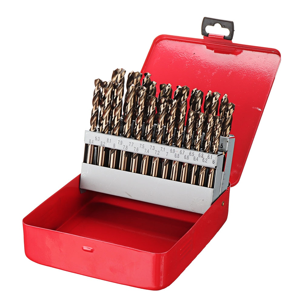 41/51 Pcs HSS-Co M35 Cobalt Straight Shank Twist Drill Bit Set with Metal Case Power Tools Accessories for Stainless Steel Wood
