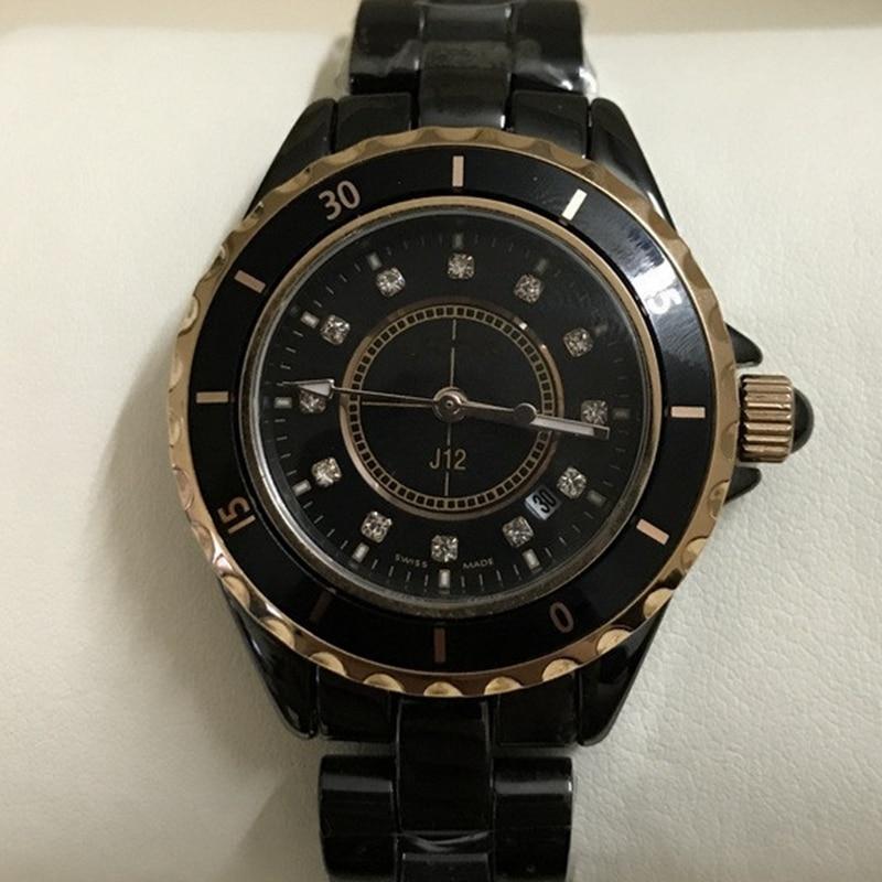 Luxury Brand Men Women Couple Watch Ceramics Sports Waterproof Wristwatch Black White Classic Vintage Men Watches Women