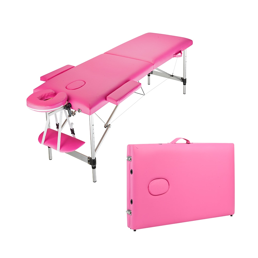 Massage Table Bed 2 Sections Folding Portable Aluminum Foot Facial SPA Professional Beauty Equipment 60CM Wide[US-Stock]