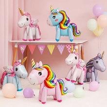 Rainbow Unicorn Balloons Foil Balloon Unicorn Party Supplies Happy Birthday Party Decorations Kids F