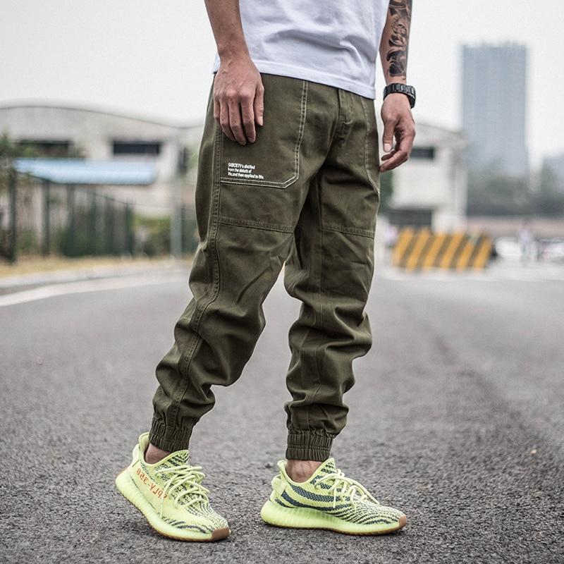 Джинсы-карго мужские с большими карманами, модные штаны в японском винтажном стиле, повседневные брюки-карго, дизайнерская уличная одежда с...