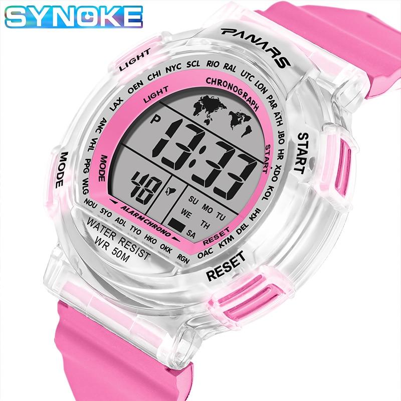 SYNOKE Children Electronic Digital Watch LED Sports Watches Stop Watch Luminous 50M Waterproof Kids Wristwatches For Boy Girl