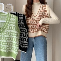 womens sleeveless sweater argyle fashion knitted vest women casual korean pullover v neck preppy style knitting vest woman