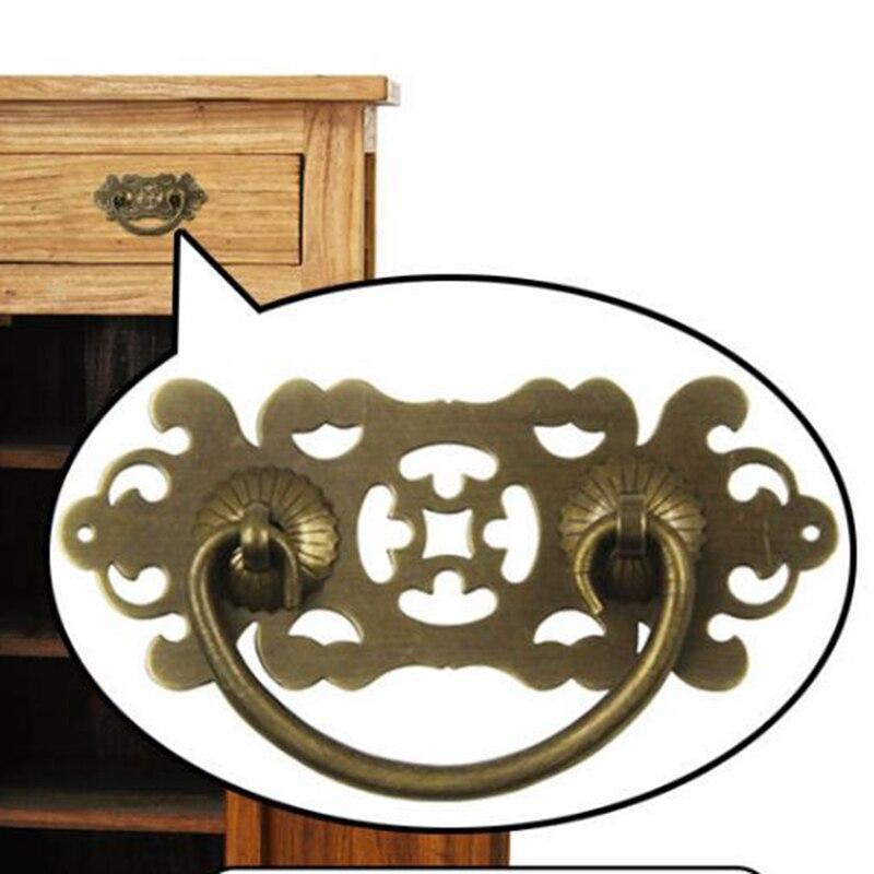 Joyero de latón antiguo de estilo chino, cajón, armario, tirador del mango, forma de murciélago de flor