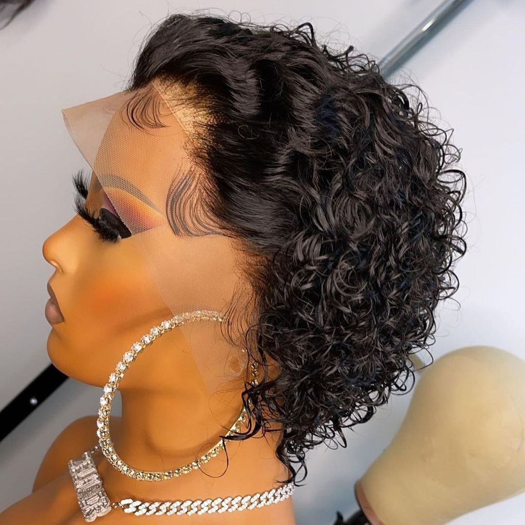 aliexpress.com - Pixie Cut Short Curly Wig  Closure Lace Human Hair Wigs Brazilian Remy 6″Inch Human Hair PrePlucked With Baby Hair 180% Density