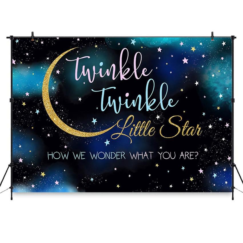 Twinkle Little Star telón de fondo Twinkly inteligente Gender Reveal fondo de fiesta rosa o azul fondos cabinas de fotos