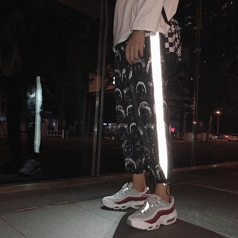 Pantalones reflectantes HOUZHOU Joggers de Hip Hop para mujer, pantalones con estampado femenino, pantalones góticos de talla grande, ropa de calle Dropshipping