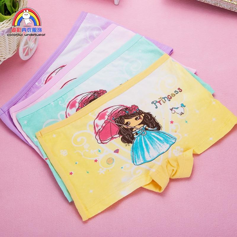 4pcs Girls Cartoon Boxes Children Cotton Underwear Cute Printing Panties Kids Short Panties Girl Underpants Briefs Size 2T-10T
