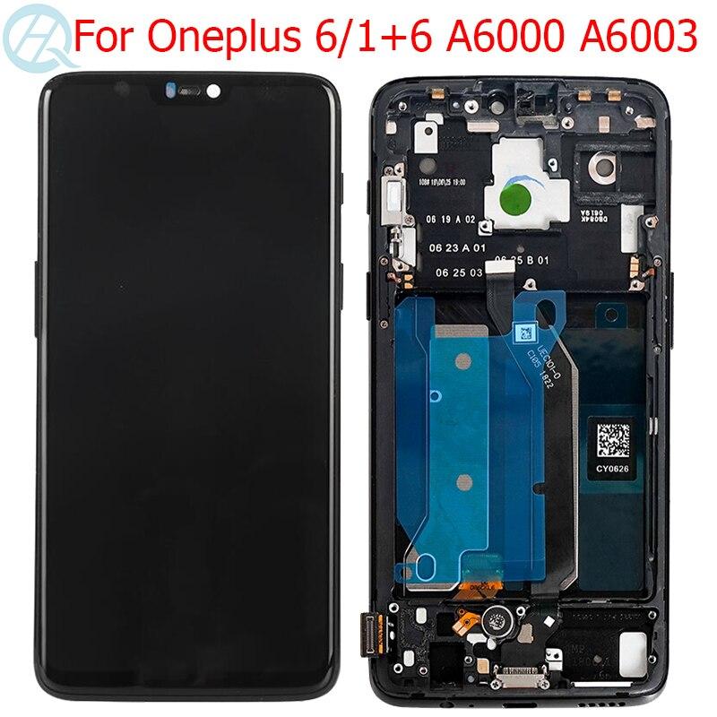 "Original 1 + 6 LCD para Oneplus 6 pantalla con marco 6,28 ""AMOLED One Plus 6 A6000 A6003 LCD pantalla táctil de cristal Asamblea"